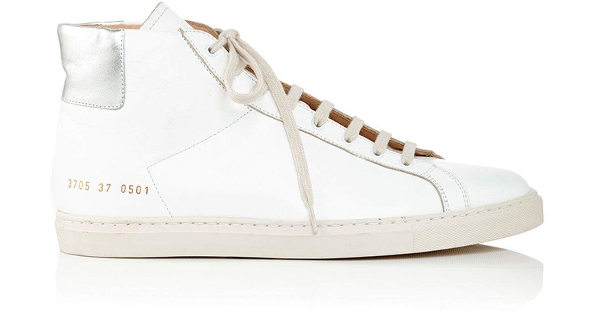 common projects achilles leather high top sneakers in white lyst. Black Bedroom Furniture Sets. Home Design Ideas