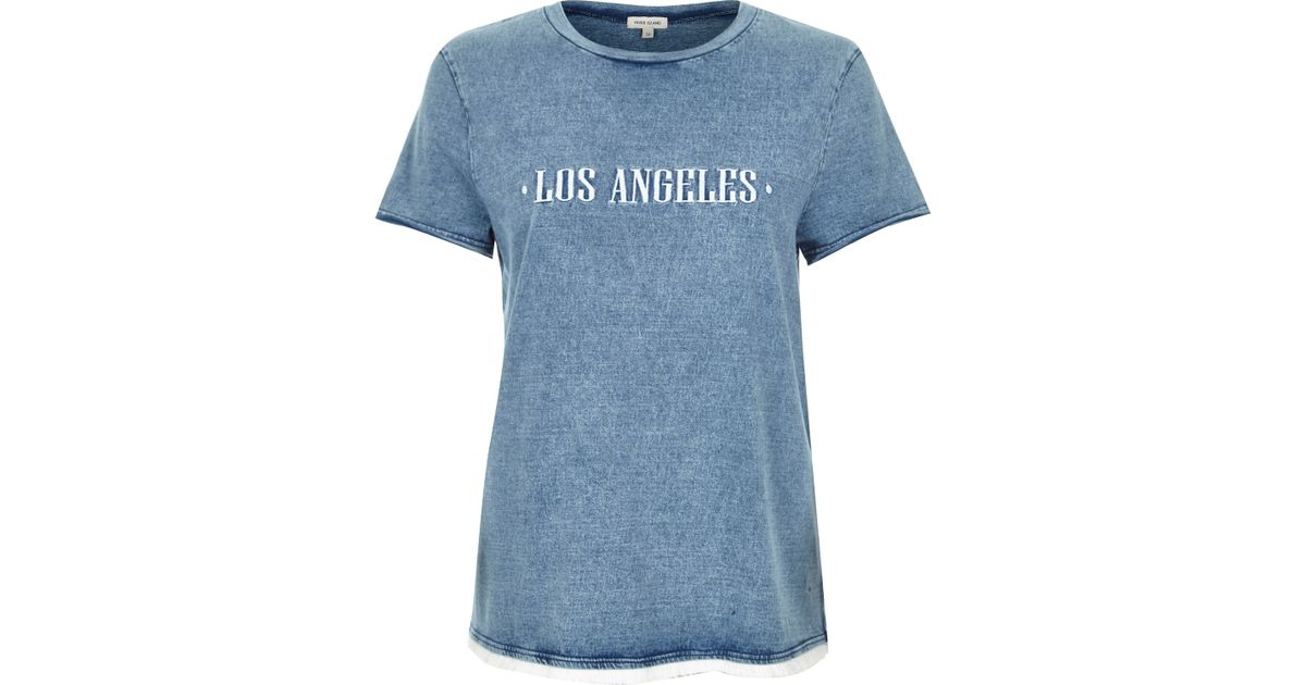 River island blue embroidered los angeles t shirt in