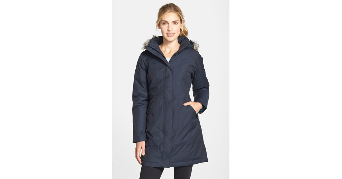 436100098 The North Face Blue 'arctic' Down Parka With Faux Fur Trim
