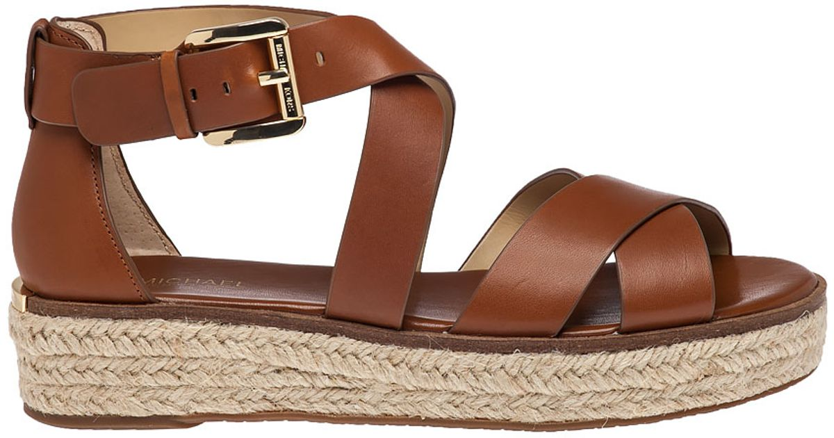 7adb2fbbbbe MICHAEL Michael Kors Brown Darby Leather Platform Sandals
