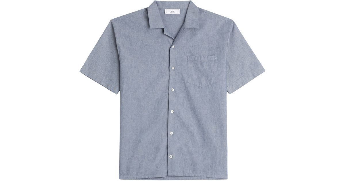 Ami chambray shirt blue in blue for men chambray lyst for Blue chambray shirt women s