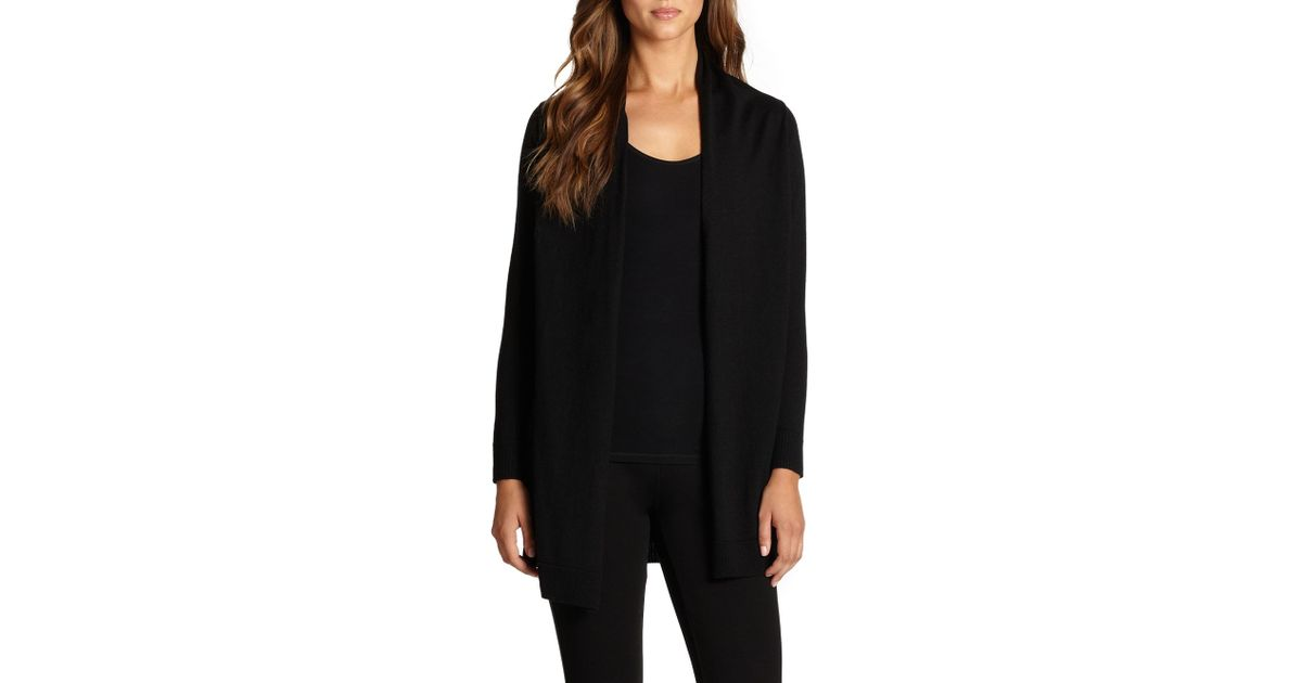 Eileen fisher Merino Wool Silk Cardigan in Black | Lyst