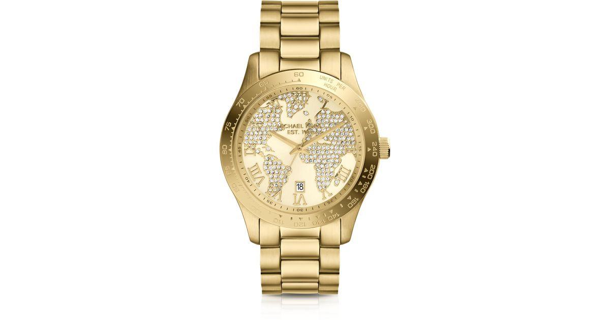 985f605b9bd0 Lyst - Michael Kors Midsize Golden Stainless Steel Layton Threehand Glitz  Watch in Metallic for Men