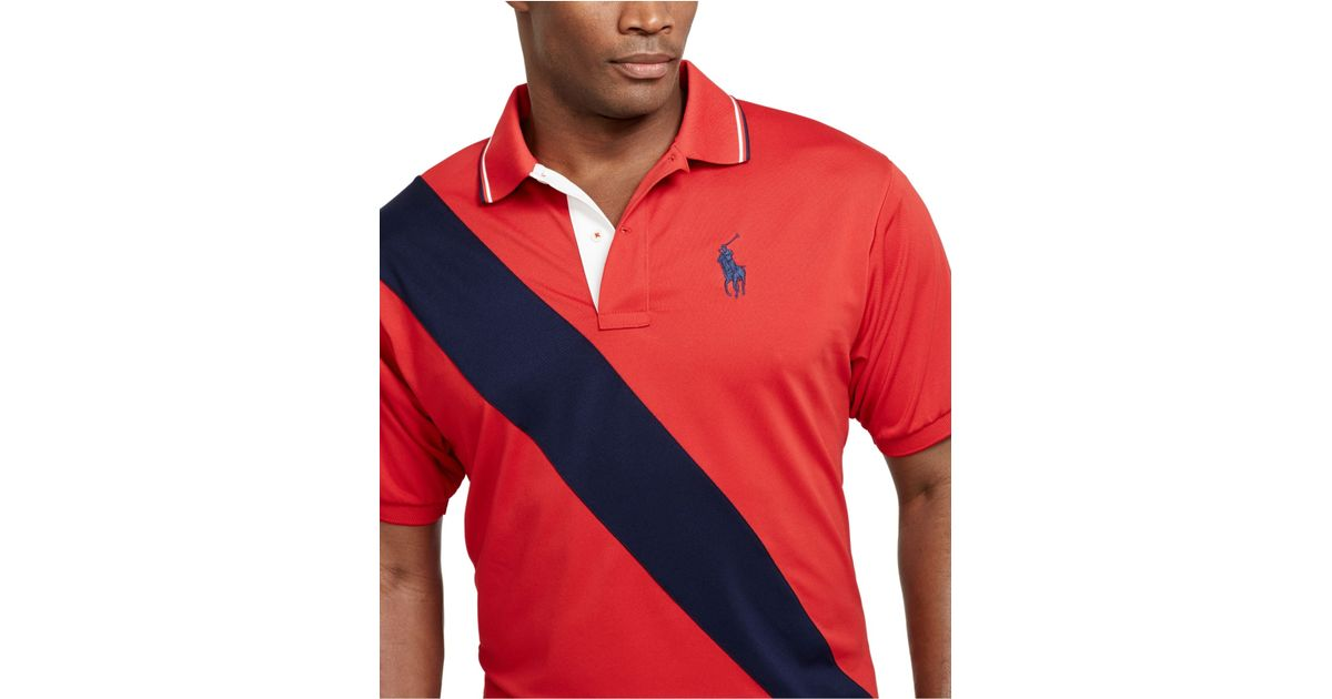 4cb39d994 Polo Ralph Lauren Big And Tall Banner-Striped Performance Mesh Polo Shirt  in Red for Men - Lyst