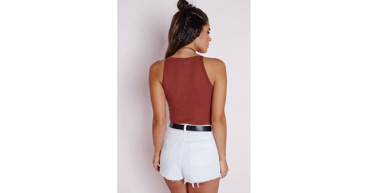 fe3c25c3e4b63b Lyst - Missguided Ribbed High Neck Crop Top Terracotta in Red