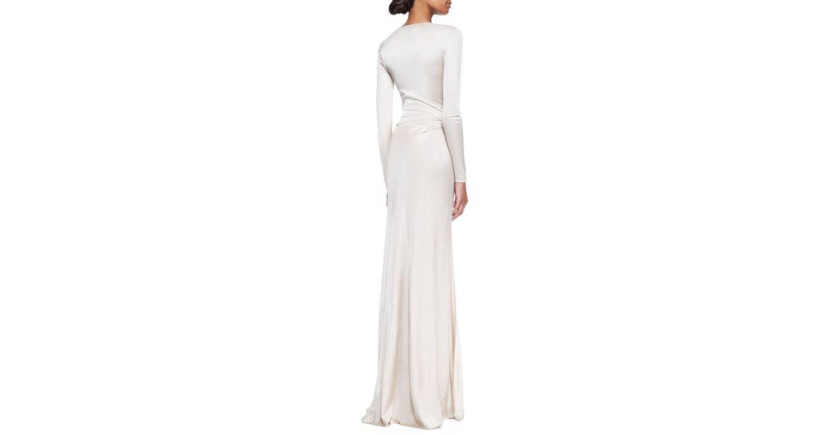 3b785ce50a Lyst Ralph Lauren Collection Miranda Jersey Evening Dress Wheat In