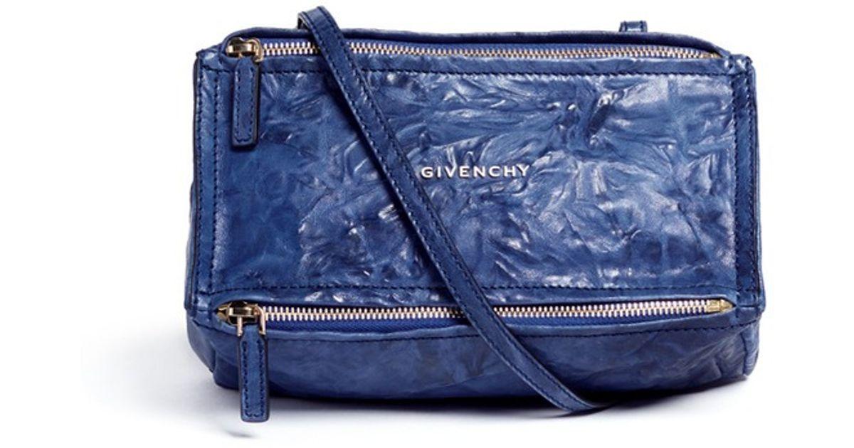 3b8c2da241 Lyst - Givenchy  pandora  Mini Crinkled Leather Bag in Blue