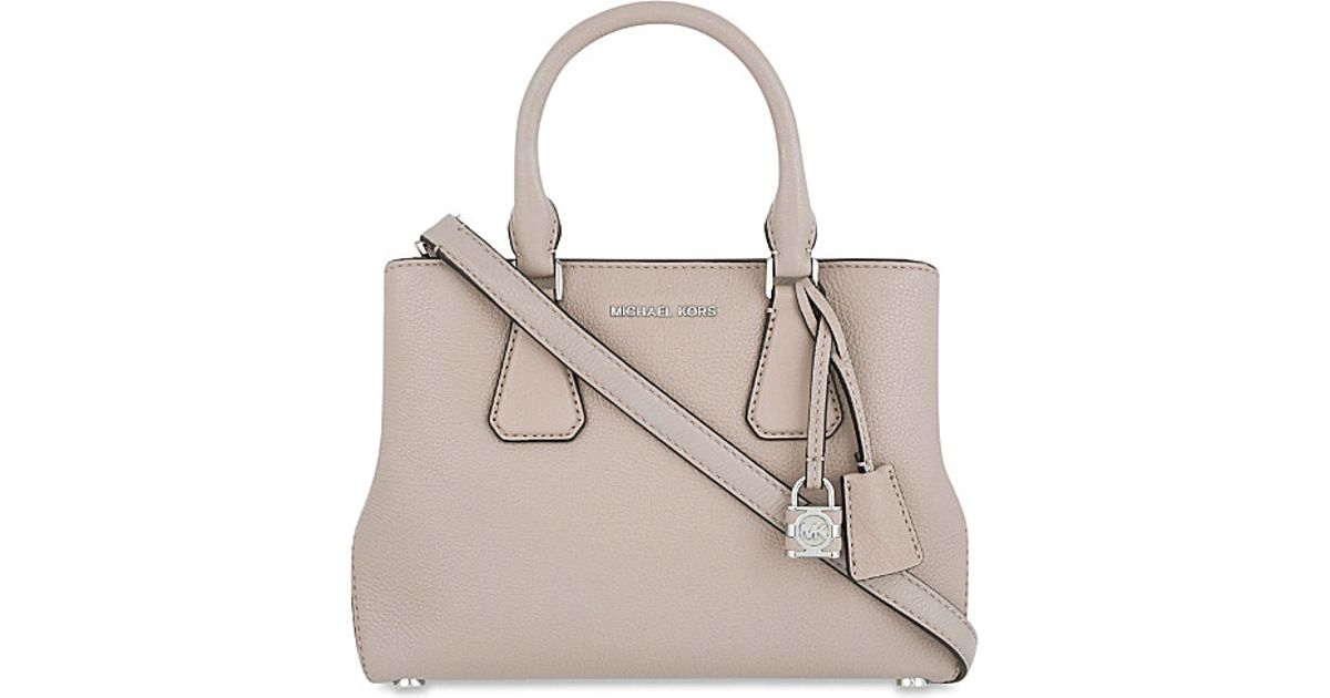 92d2ec2f5062 ... clearance switzerland lyst michael michael kors camille small leather  satchel in natural 908c8 1d181 9e3c7 35577
