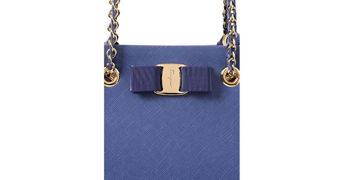 ed33a1b73666 Ferragamo Vany Saffiano Leather Top Handle Bag in Blue - Lyst