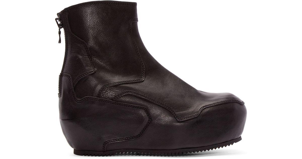 julius black leather platform boots in black for lyst