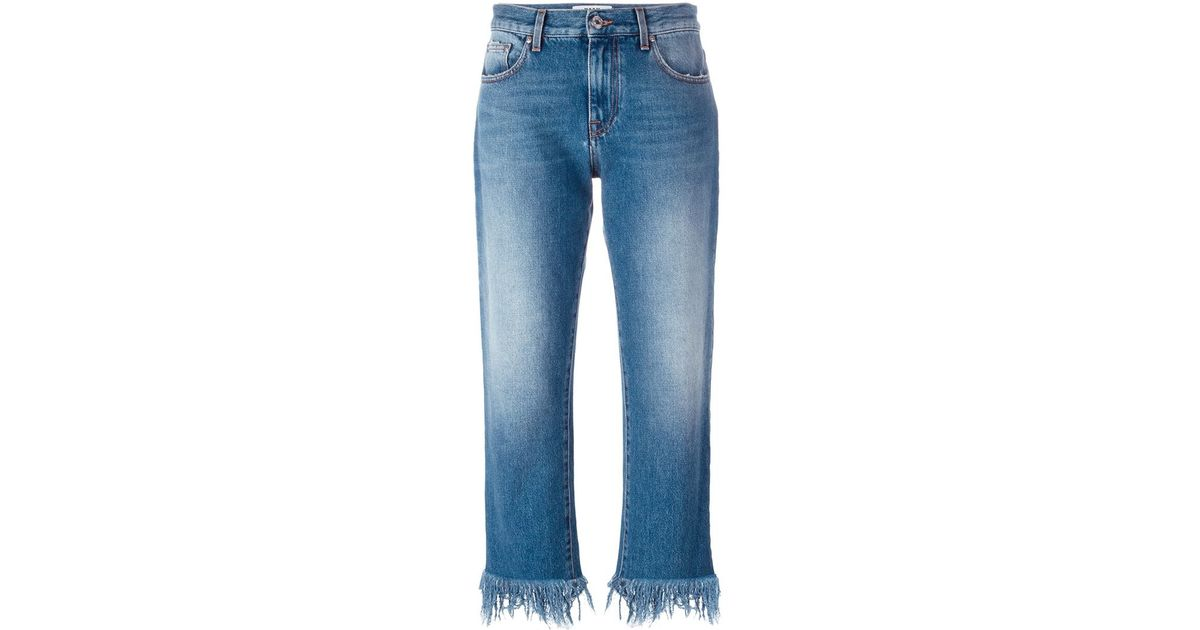 Msgm Frayed Hem Jeans in Blue