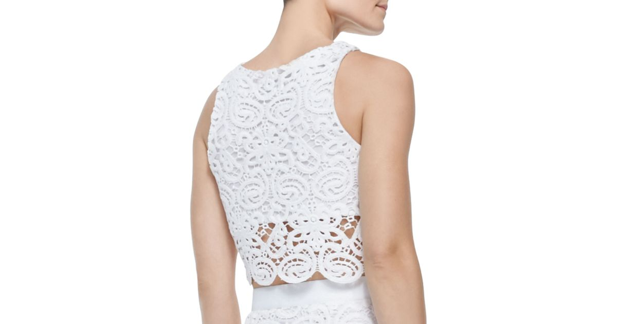 3d40a63c672 Lyst - Miguelina Rosi Crochet Boxy Cropped Tank in White