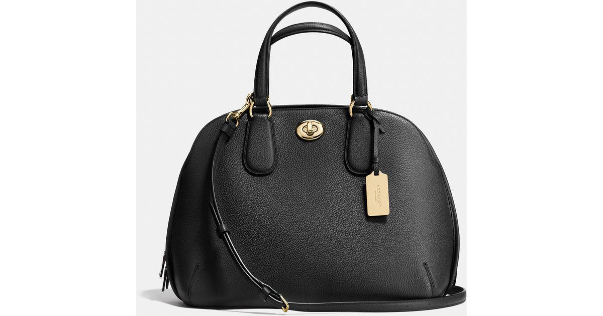d1bddd886459 Lyst - Coach Prince Street Satchel In Polished Pebble Leather in Metallic