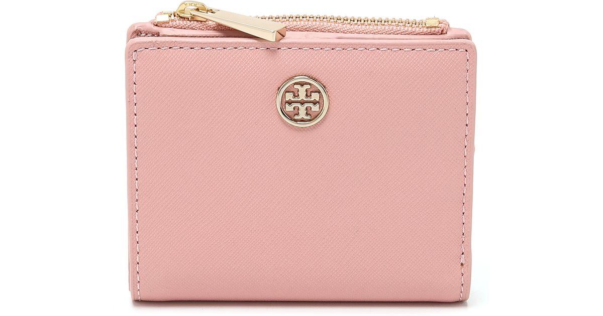 ab786b0c8472 ... discount lyst tory burch robinson mini wallet iceberg in pink 8c212  7fc6c