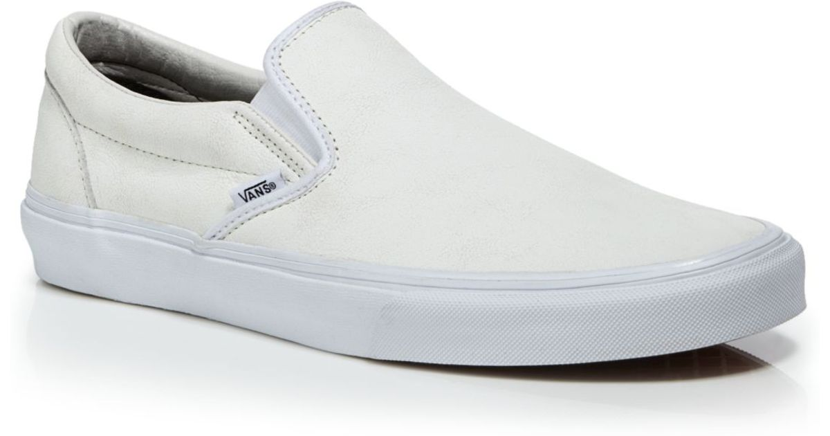 ffe7976469 Vans White Crackle Leather Classic Slip On Sneakers for men
