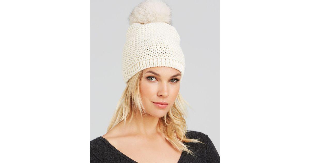 99bd1b53b Kyi Kyi White Fox Fur Pom-pom Slouchy Knit Hat