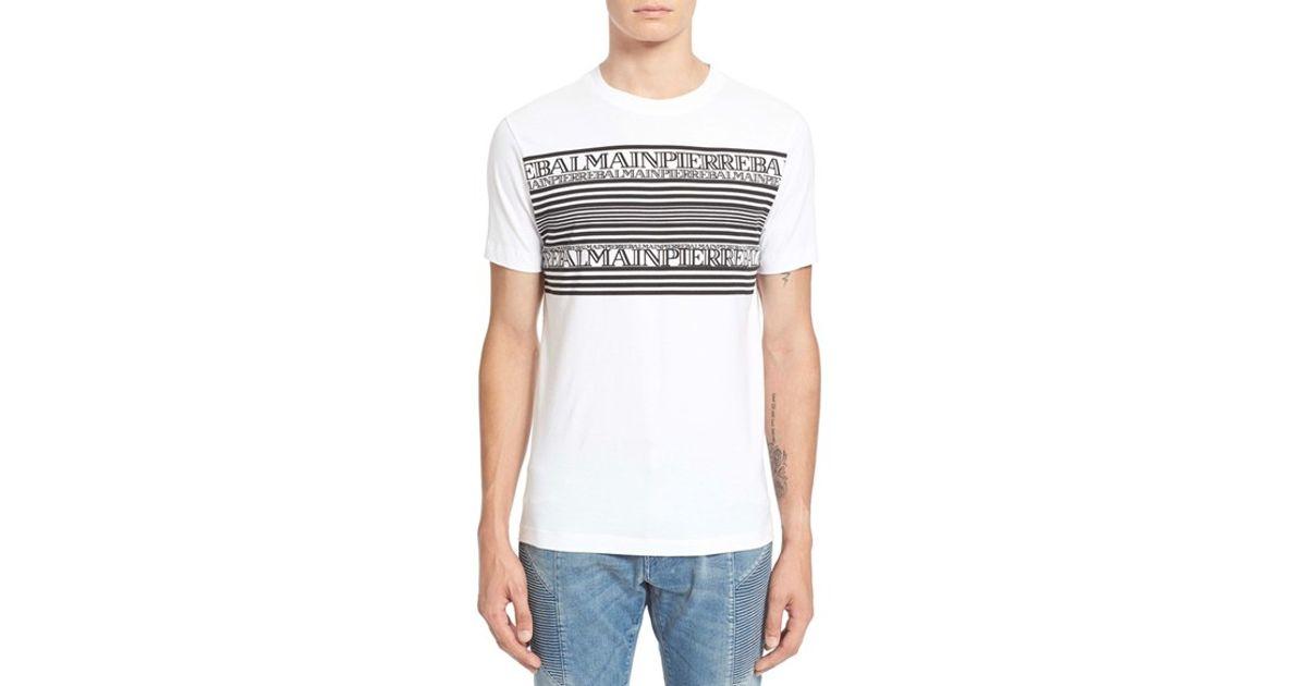 Balmain Bar Logo T Shirt In White Lyst