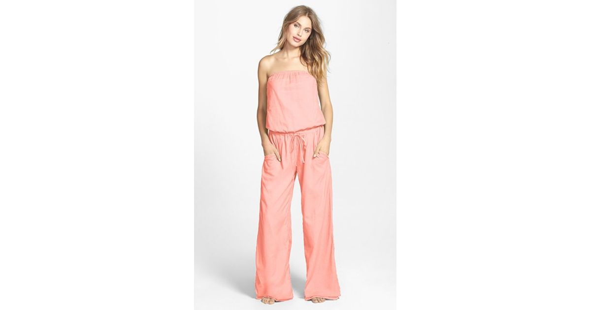 8cb5e091c01 Lyst - Hard Tail Strapless Shelf Bra Jumpsuit in Pink