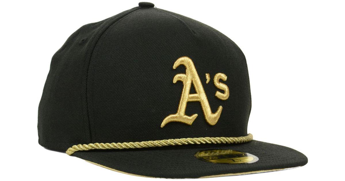 official site order online buy best KTZ Oakland Athletics Hall Aframe 59fifty Cap in Black/Metallic ...