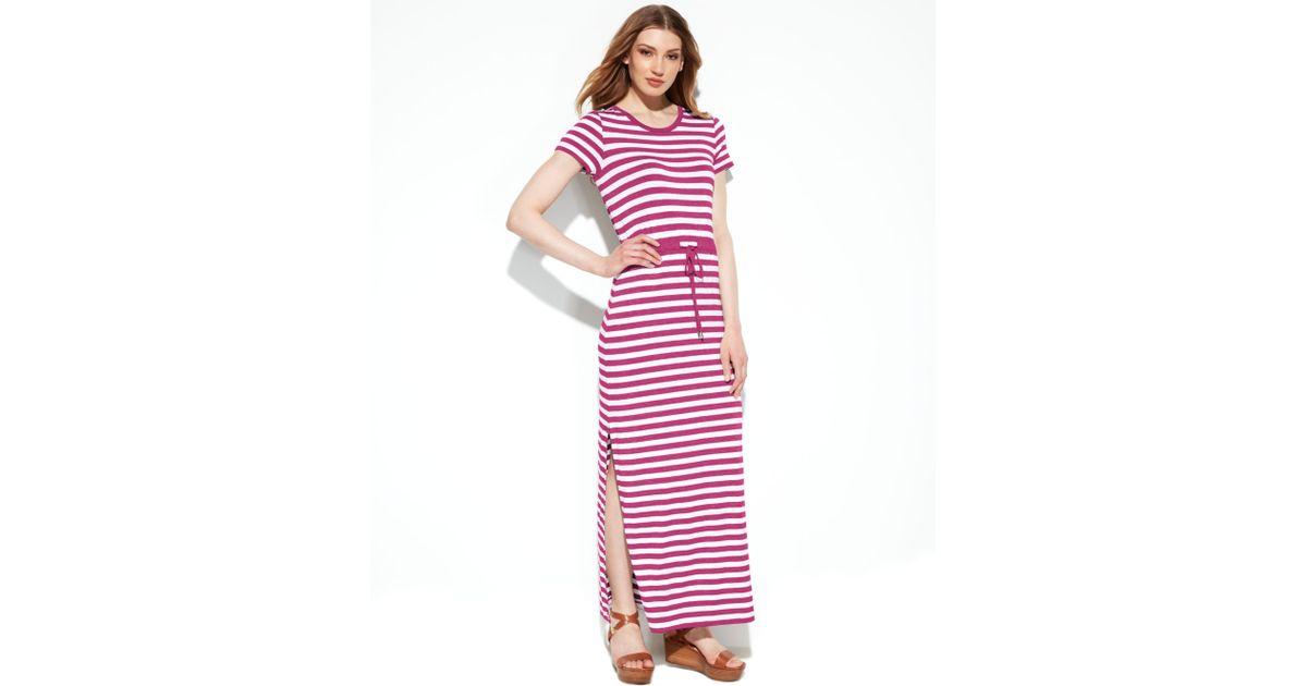 c71f25ca2a2 Lyst - Michael Kors Michael Shortsleeve Striped Maxi Dress in White