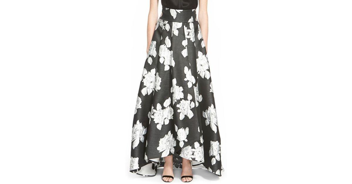 Lyst - St. John Floral Print Duchesse Satin Ballgown Skirt in Black