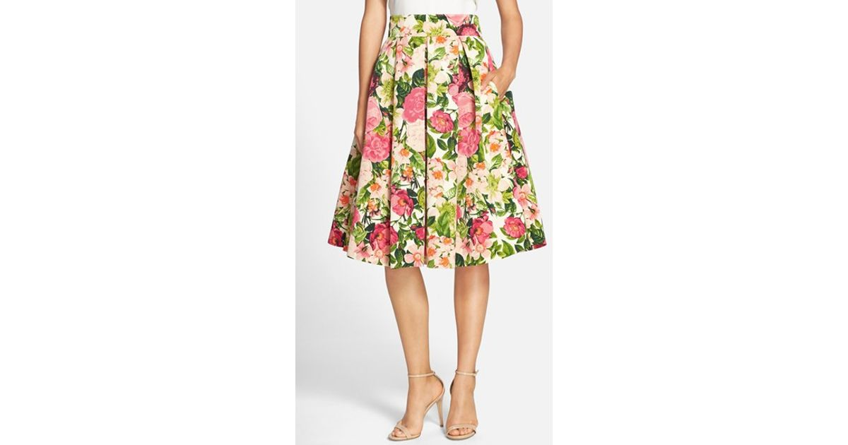 Lyst - Eliza J Floral Print Faille Midi Skirt in Green 7b503bd19