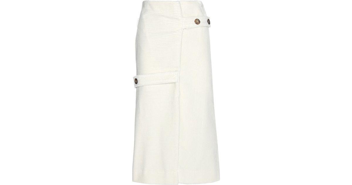 2568a73943 Lyst - Victoria Beckham Corduroy Skirt in White
