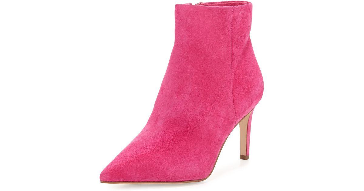 a447714a7 Lyst - Sam Edelman Karen Suede Ankle Bootie in Pink