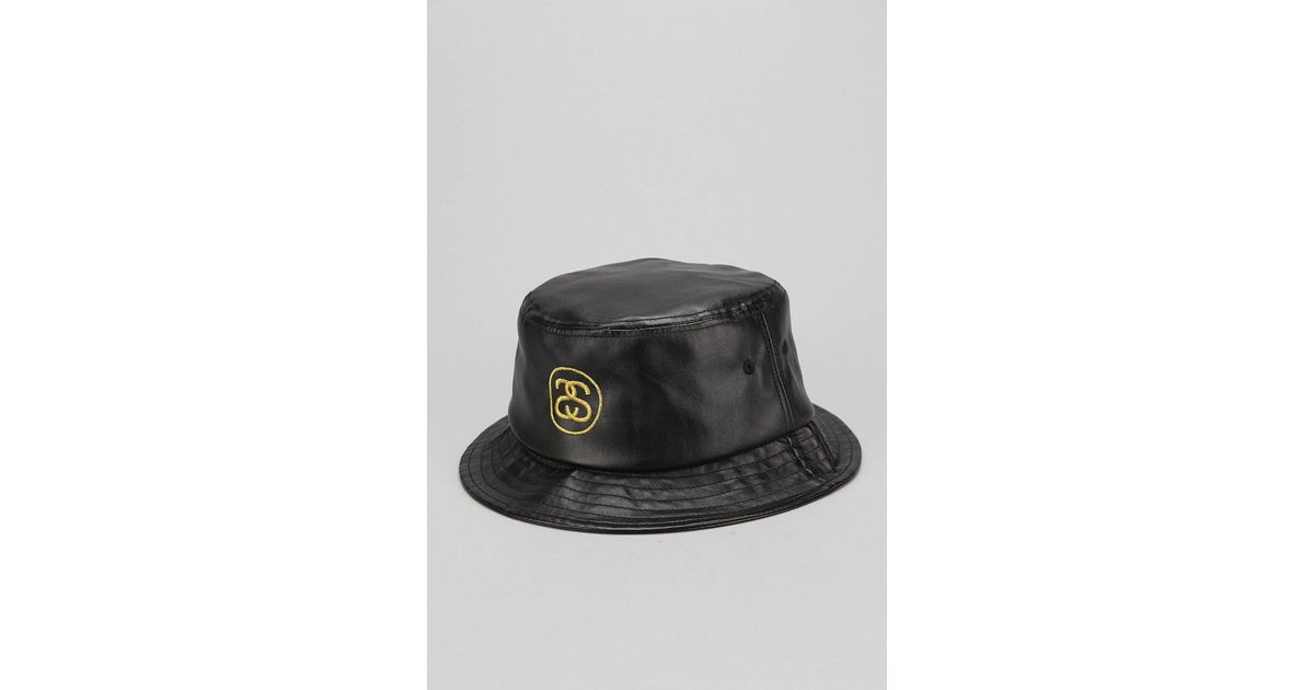 0a21a7ad Stussy Ss Link Fauxleather Bucket Hat in Black for Men - Lyst