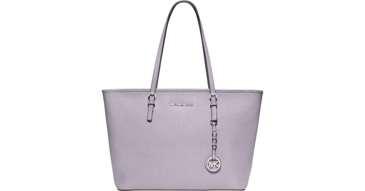 fe90c9e289 MICHAEL Michael Kors Jet Set Travel Top Zip Leather Tote Bag in Purple -  Lyst