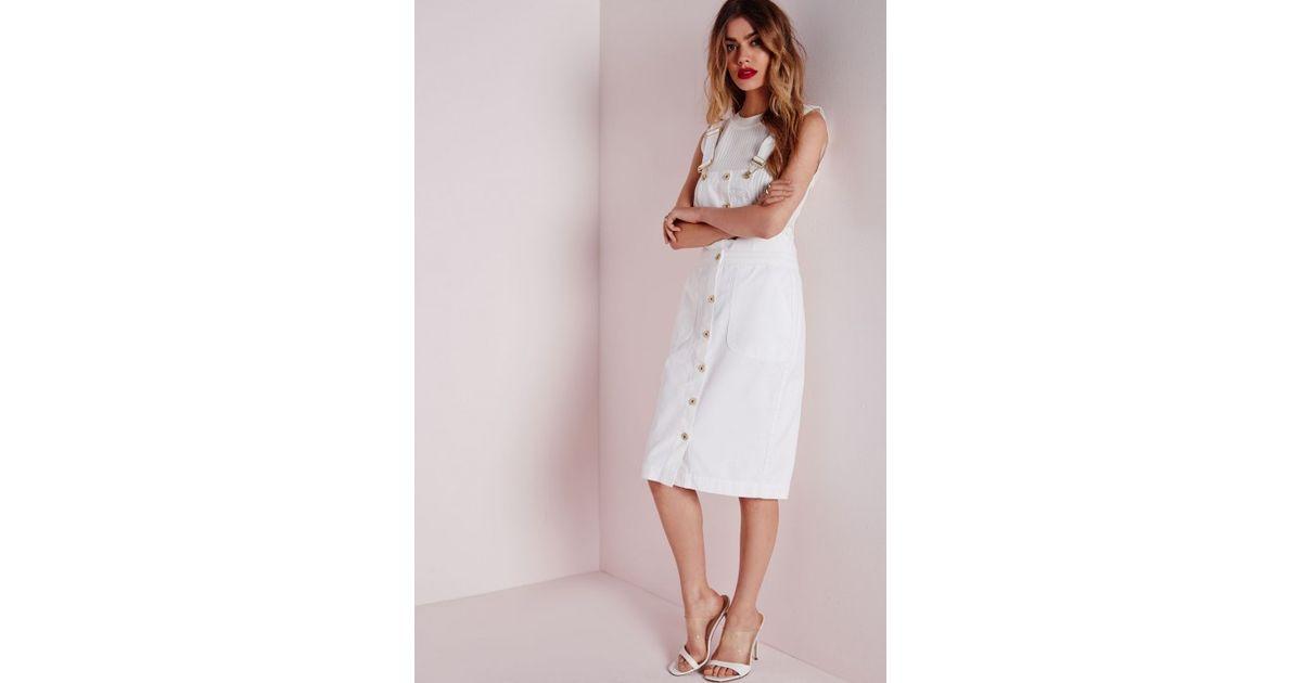 b8fabcaeb3 Lyst - Missguided Dungaree Denim Midi Dress White in White