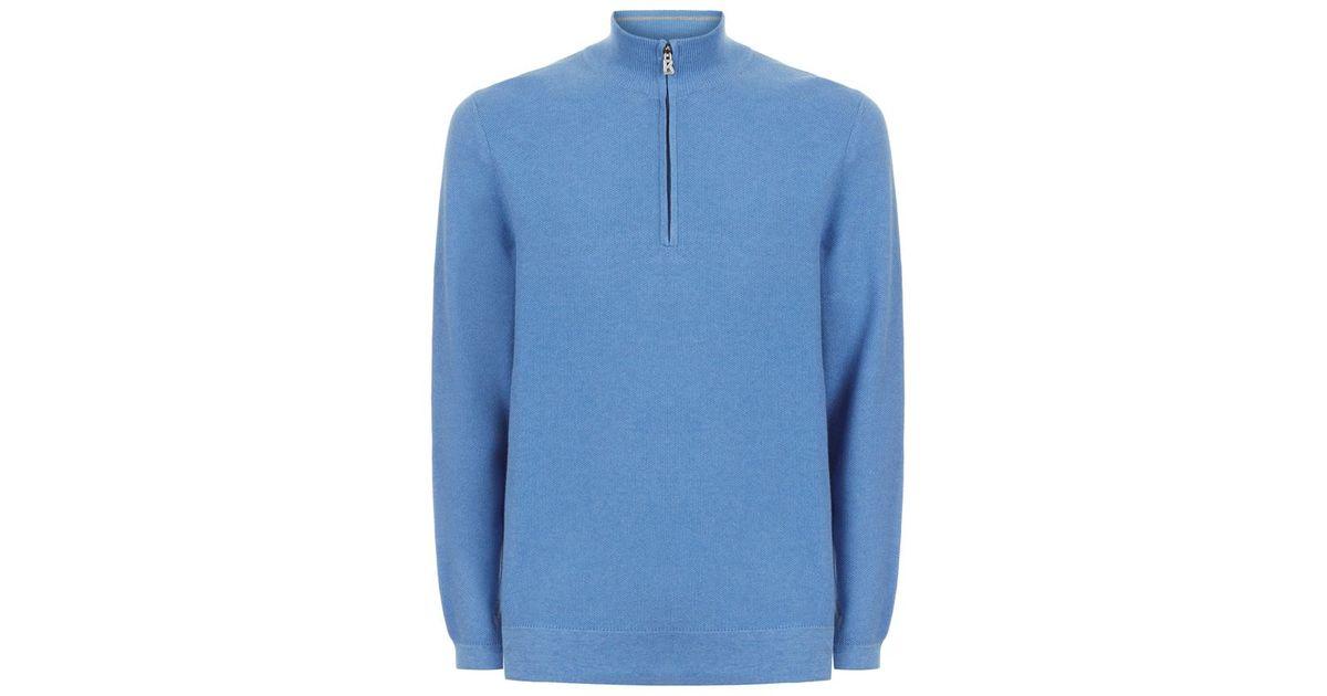 Knitting Pattern Half Zip Sweater : Bogner Half Zip Sweater in Blue for Men Lyst