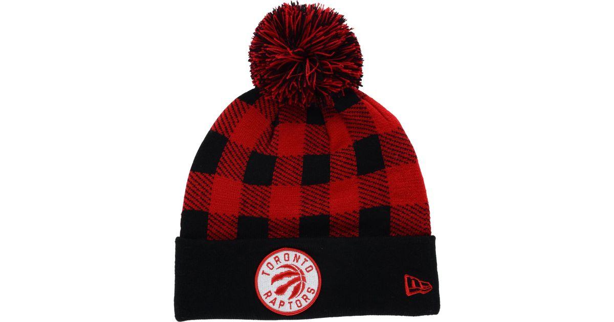 Lyst - KTZ Toronto Raptors Buff Plaid Knit Hat in Red for Men cb2c6906604