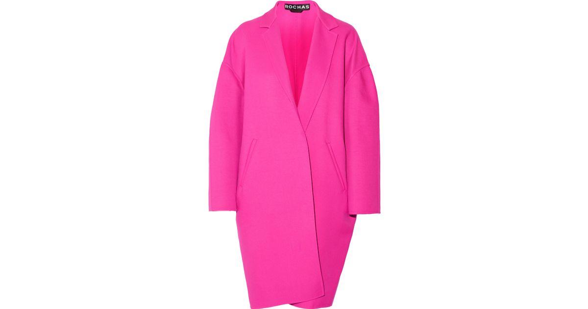 Rochas Oversized Twill Coat in Pink   Lyst