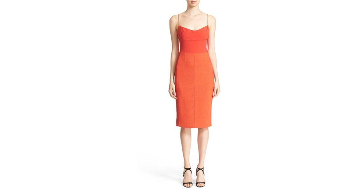 a82e42b6c69 Narciso Rodriguez Textured Wool-Blend Bustier Dress in Red - Lyst