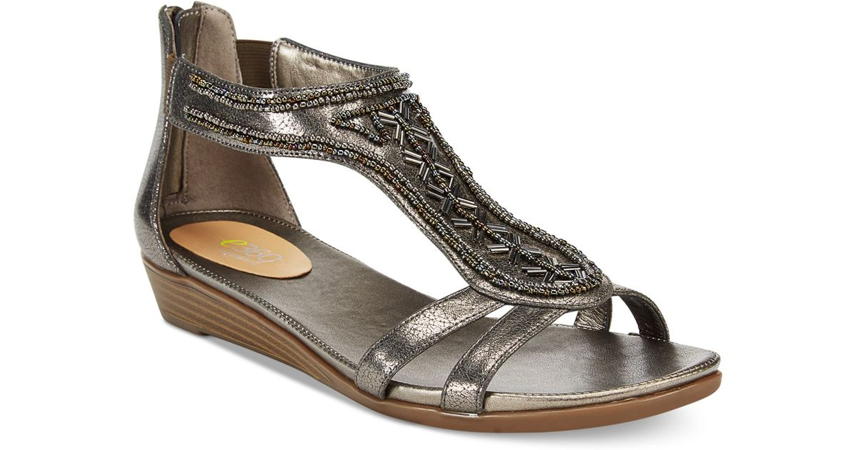 Easy Spirit Amalina Wedge Sandals In Gray Pewter Lyst