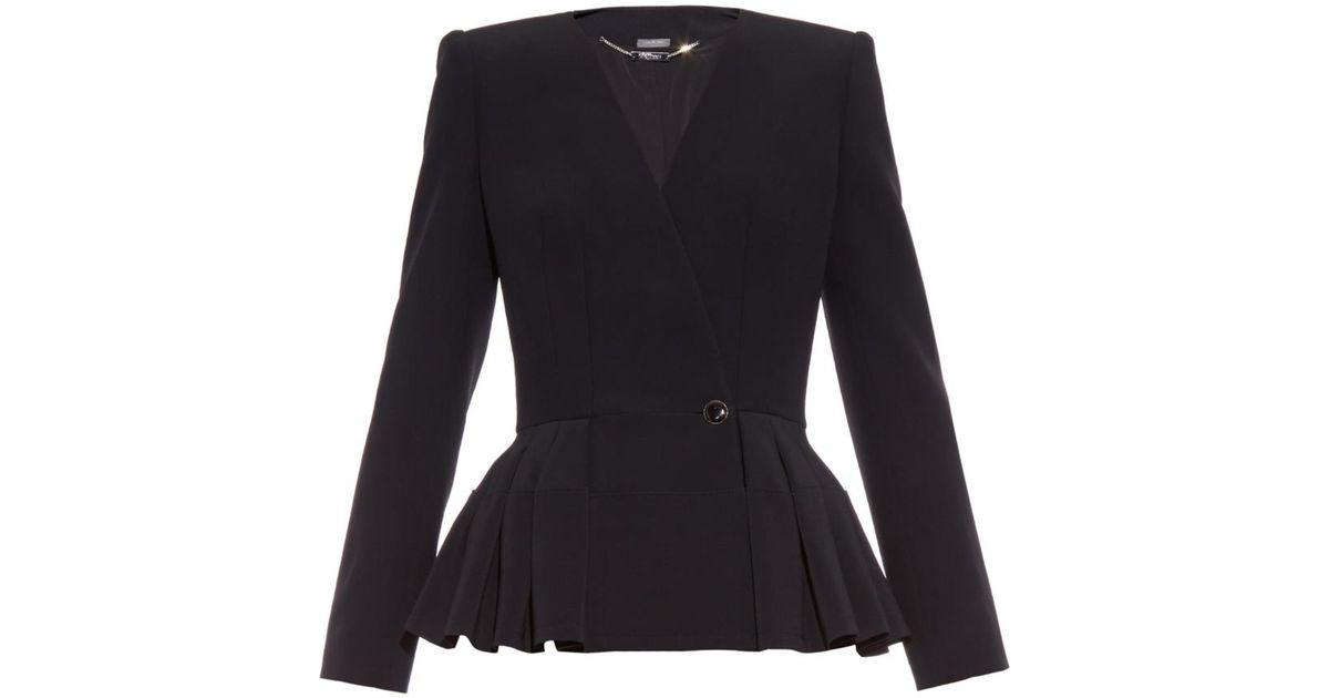 de16749b443 Lyst - Alexander McQueen Peplum Leaf-Crepe Jacket in Black