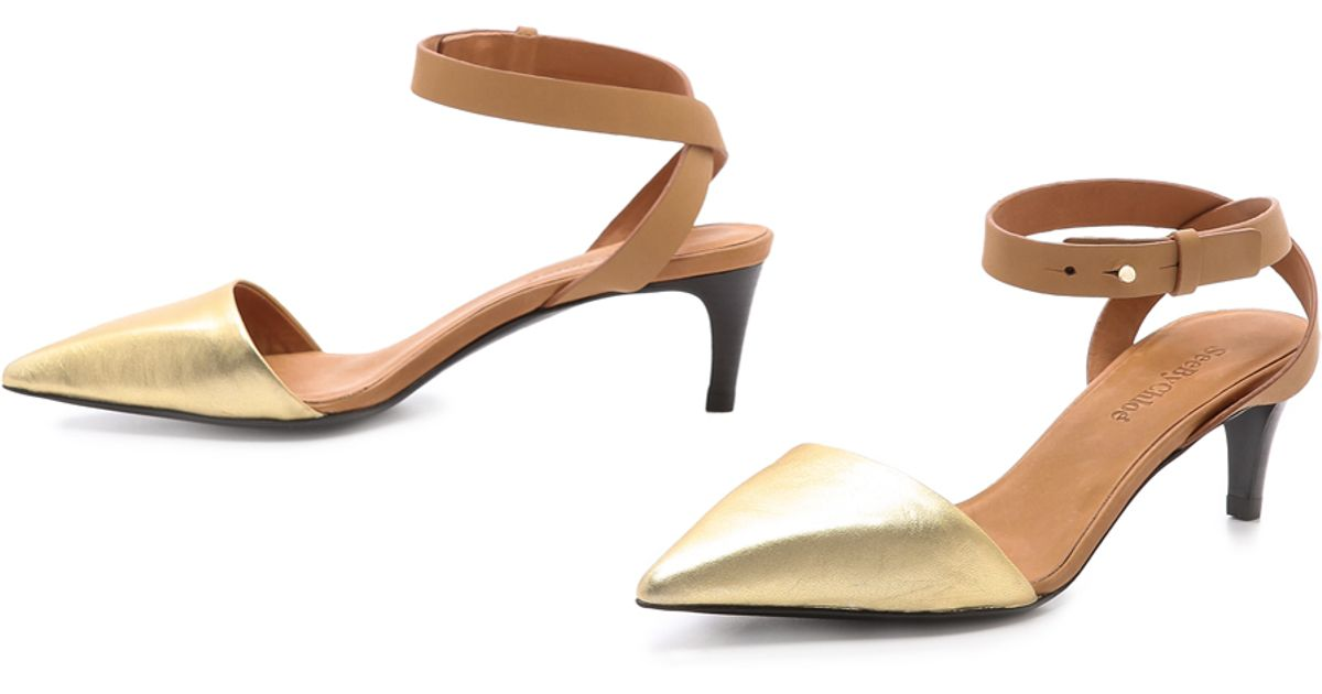 Lyst - See By Chloé Metallic Pointed Toe Pumps in Brown