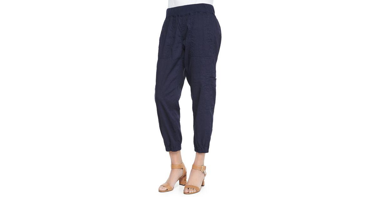 3ba1772b25e5 Lyst - Eileen Fisher Cargo Linen-blend Ankle Pants in Black