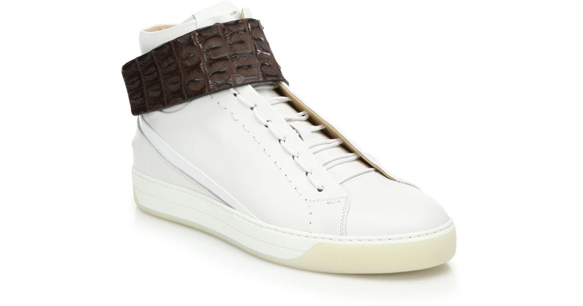 744df0554a Fendi White Wimbledon Crocodile-strap Leather High-top Sneakers