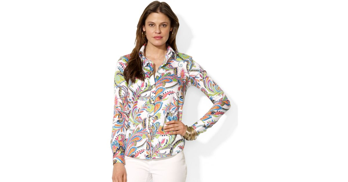 4cffc18a Lauren by Ralph Lauren Multicolor Long Sleeve Wrinklefree Paisley Shirt