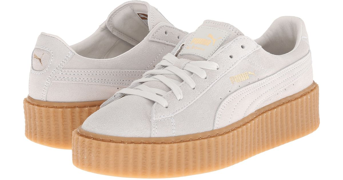 official photos a749e 7caac PUMA White Rihanna X Suede Creepers