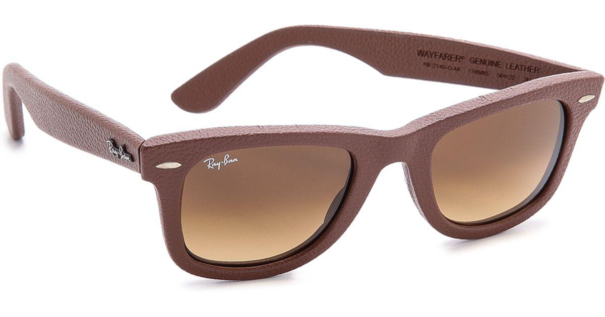 ce310e06d61 ... matte brown wayfarer sunglasses rb21328947652 f5e5d ab3cb  reduced lyst ray  ban leather wrapped wayfarer sunglasses in brown for men 92608 6e00d