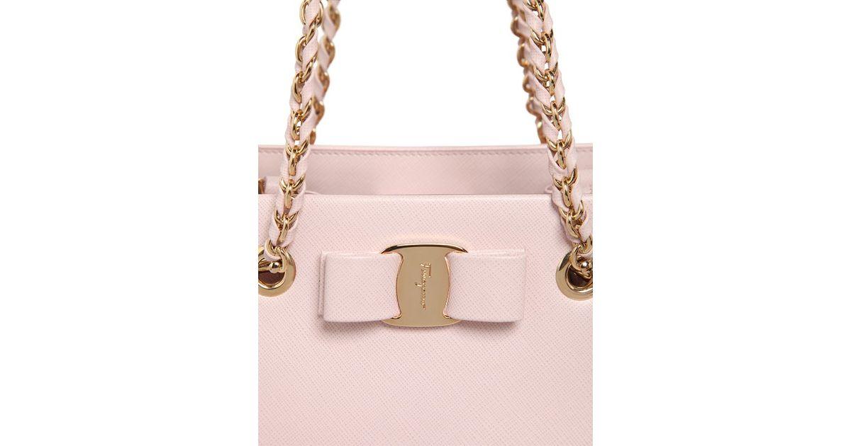 542856c638d6 Lyst - Ferragamo Vany Saffiano Leather Top Handle Bag in Pink