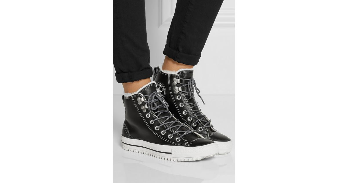 c85d020ea46618 Lyst - Converse Chuck Taylor All Star City Hiker Shearling-Lined Leather  High-Top Sneakers in Black
