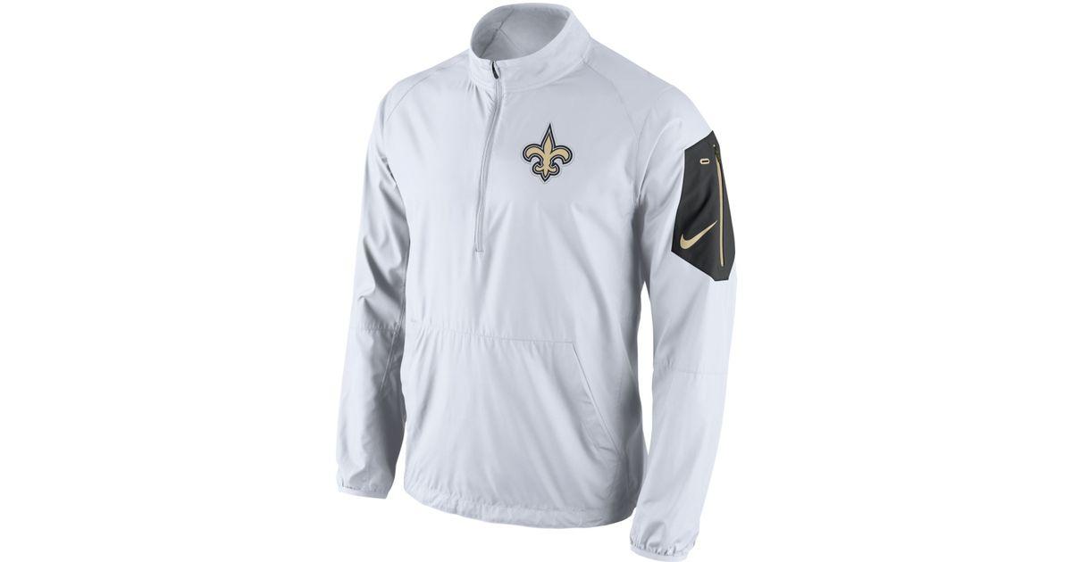 Nike White Men's New Orleans Saints Lockdown Half-zip Jacket for men