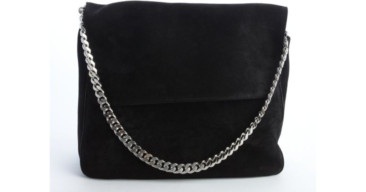 Céline Black Suede Silver Braided Chain Shoulder Bag in Black | Lyst