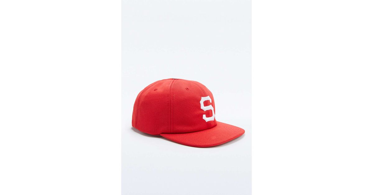 dd253089924 Stussy Short Brim Old S Red Snapback Cap in Red for Men - Lyst