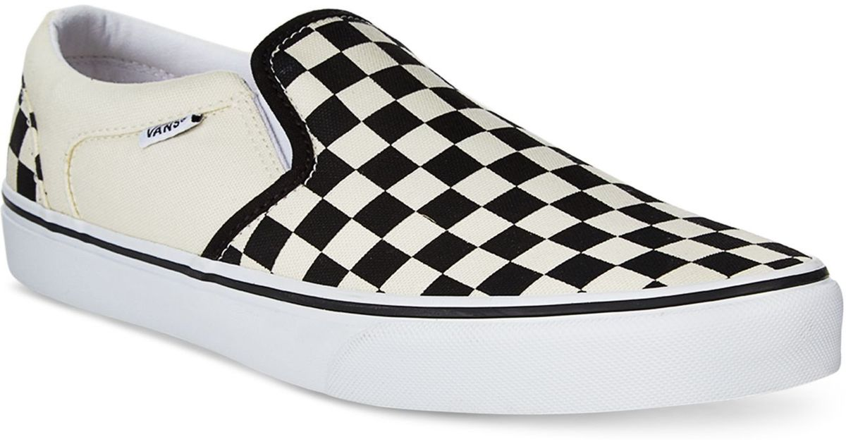 vans s asher canvas slip on sneakers in black for