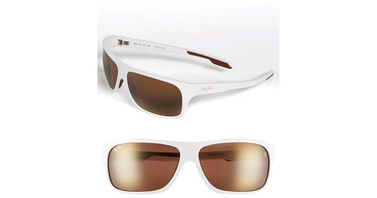 Men Maui Rectangle Wrap Polarizedplus' For Sunglasses 64mm Jim 'island Time White AjL54R